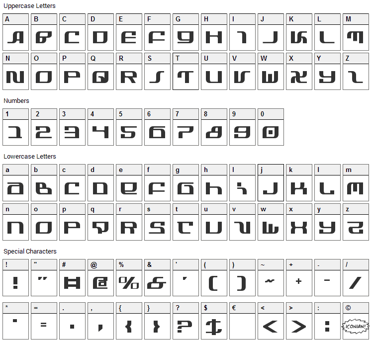 Infinity Font Character Map