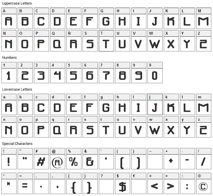 Infinity Media Font Character Map