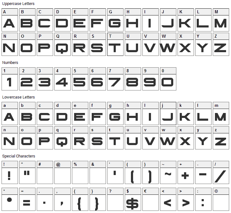 Infinium Guardian Font Character Map