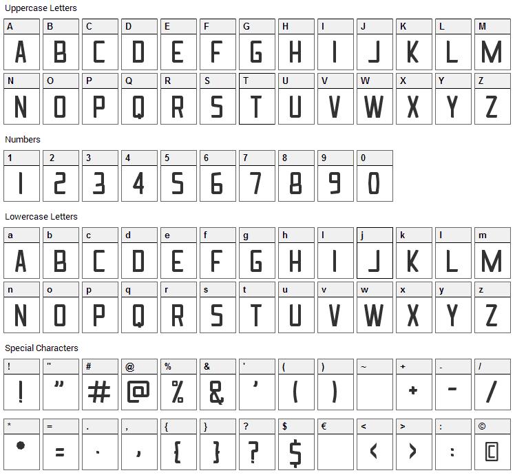 Ingrata Font Character Map
