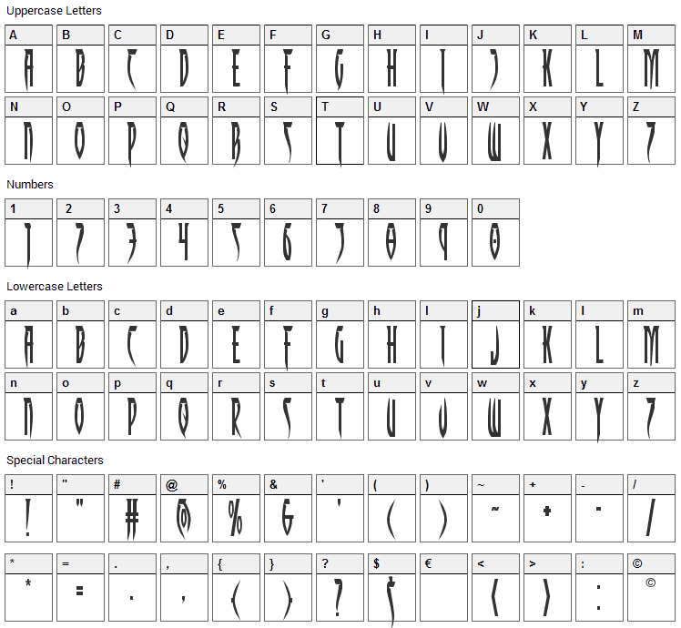 Inhumanity Font Character Map