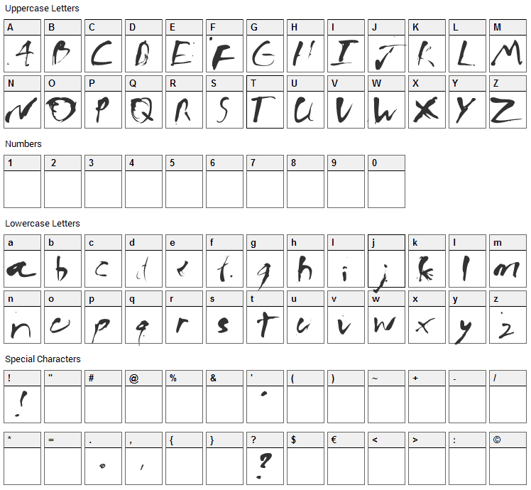 Ink Bleed Font Character Map