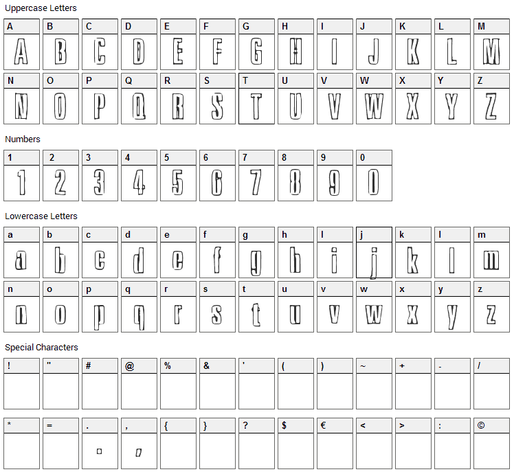 Ink Tank Font Character Map