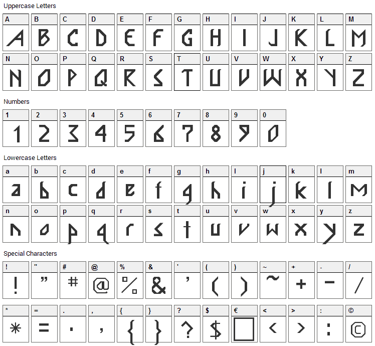 InkaBod Font Character Map