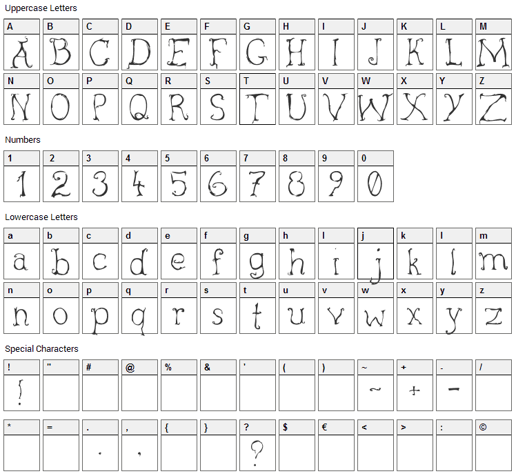 Inky Font Character Map