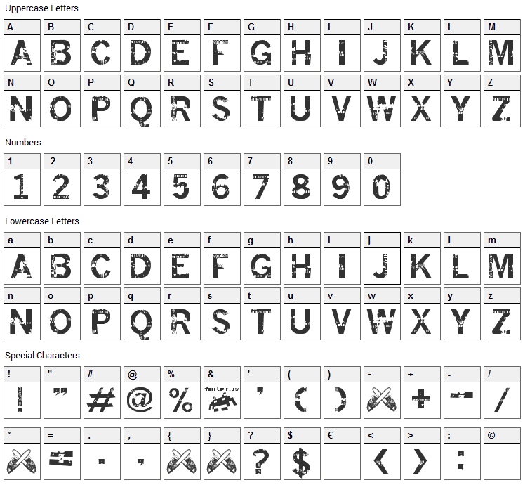 Insomnesia Font Character Map