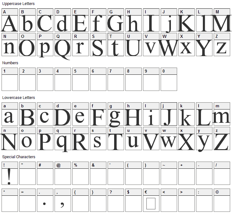 Instant Message Freak Font Character Map
