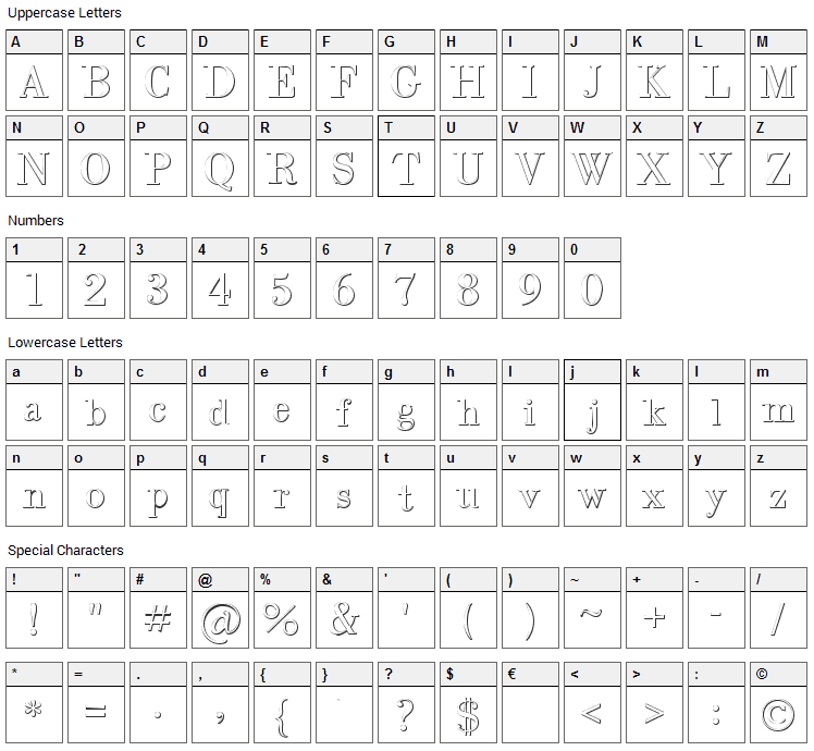 Intellecta Bodoned Beveled Font Character Map