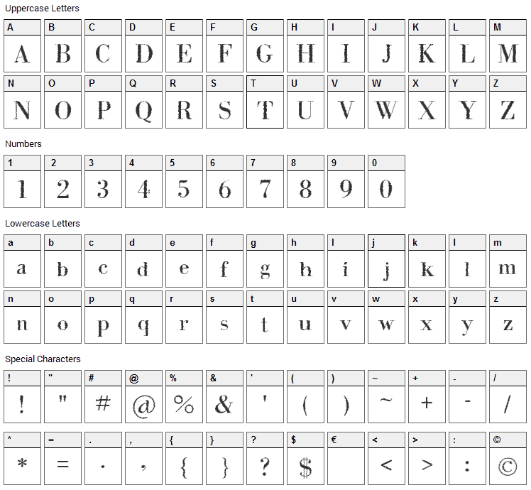 Intellecta Bodoned Trash Font Character Map