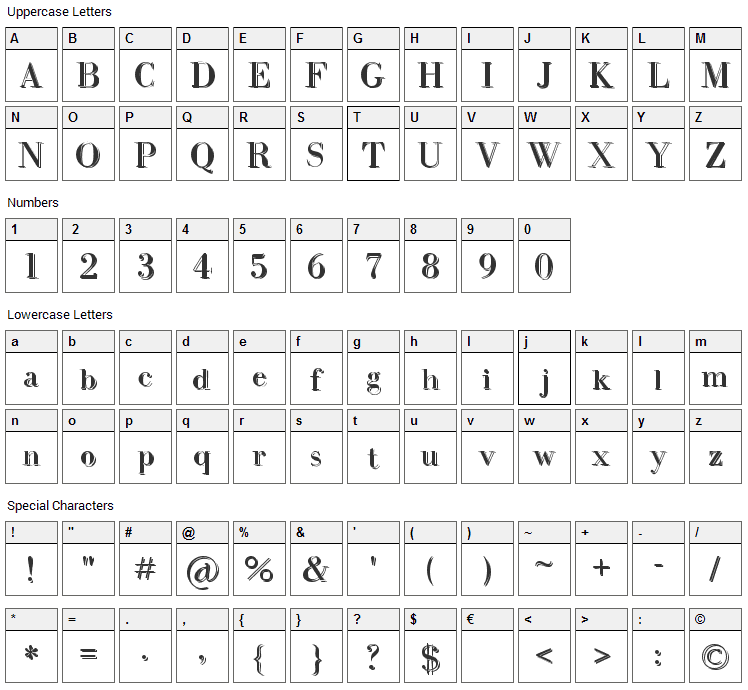 Intellecta Bodoned Two Font Character Map