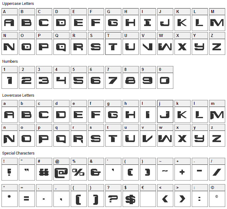 Interdiction Font Character Map