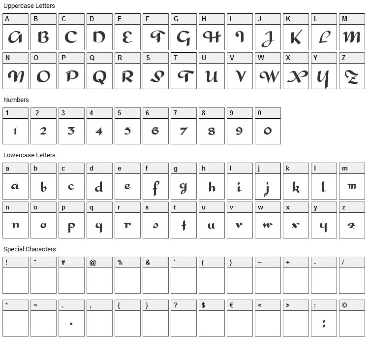 Interdite Script Font Character Map