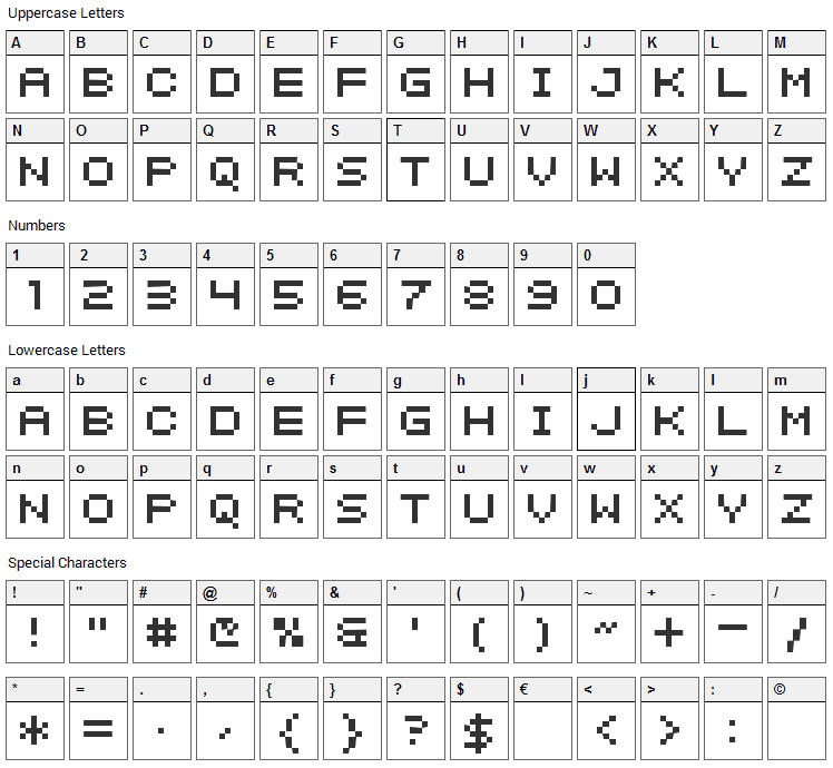 Intermosaic Font Character Map