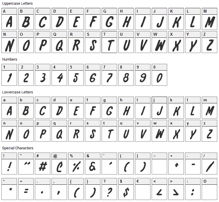 International Super Hero Font Character Map