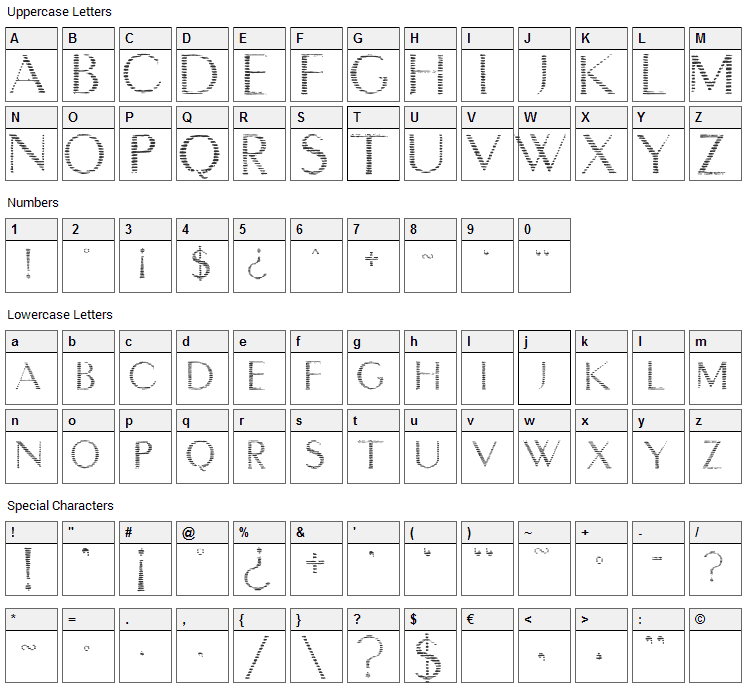 Intimacy Deux Font Character Map