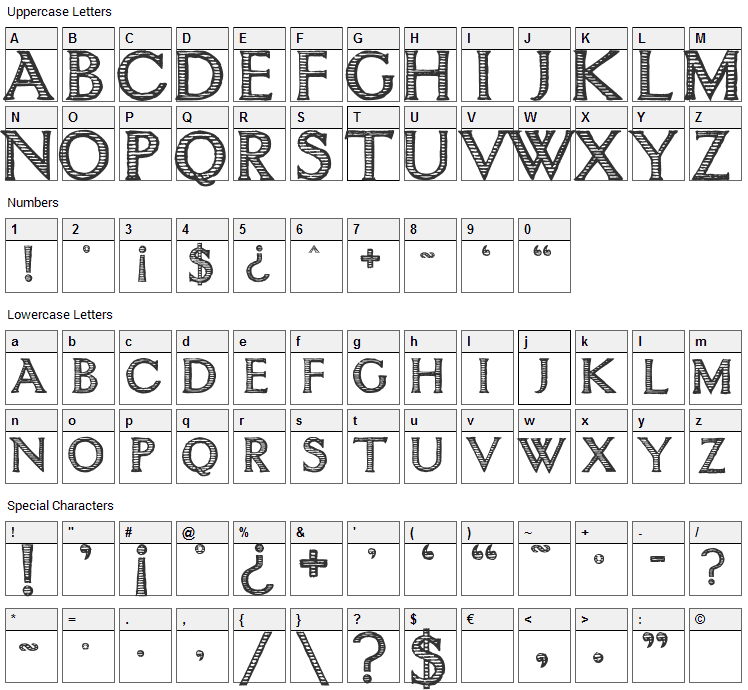 Intimacy Font Character Map