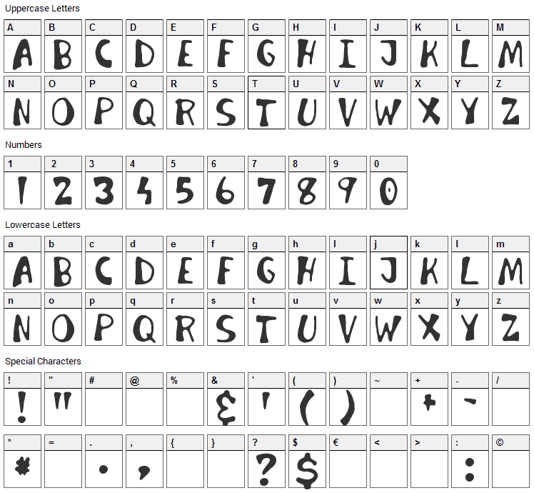 Invader Candy Font Character Map