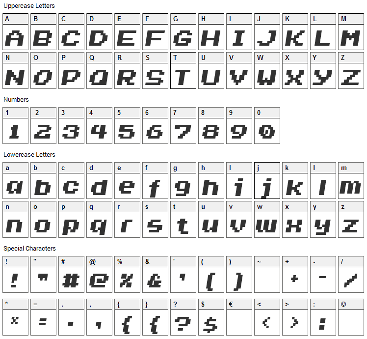 Invasion 2000 Font Character Map