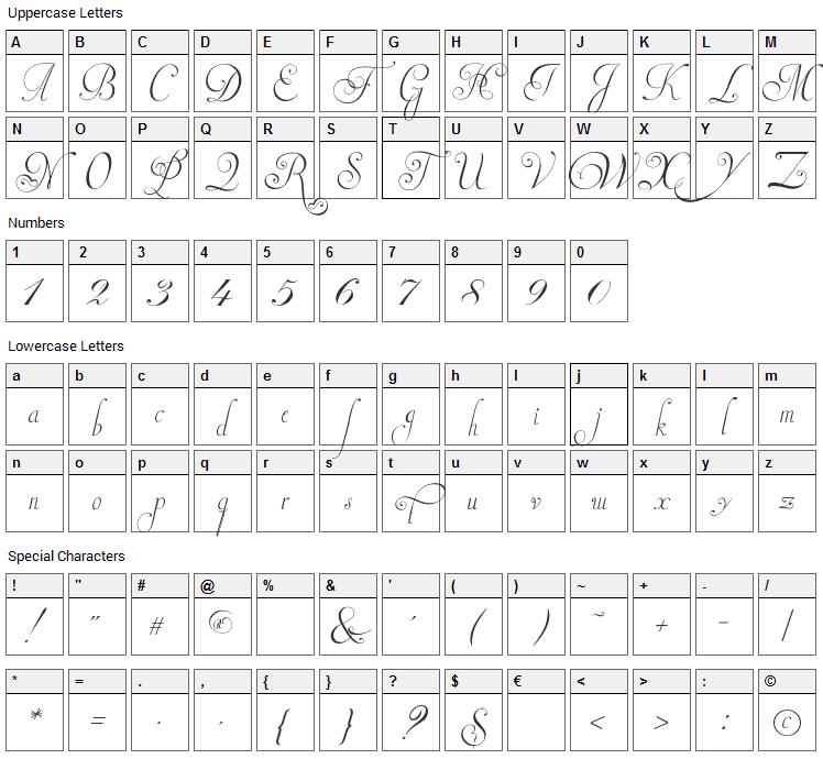 Invitation Script Font Character Map