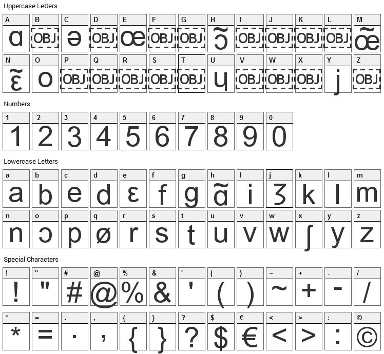 IPA Font Character Map
