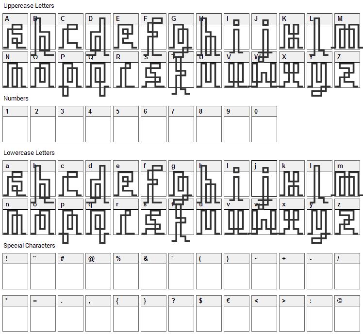 Iqq Font Character Map
