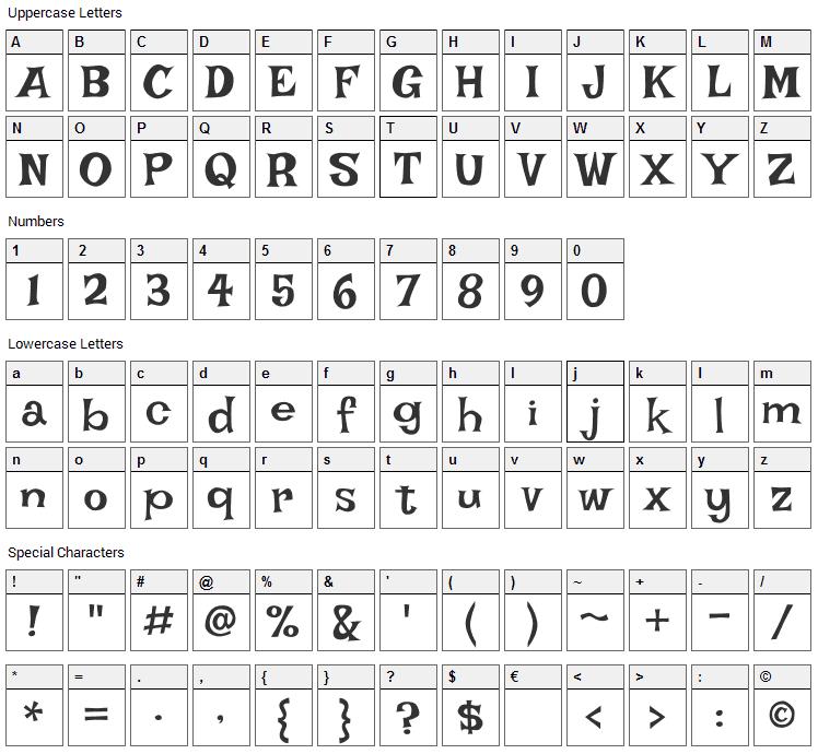 Irish Grover Font Character Map
