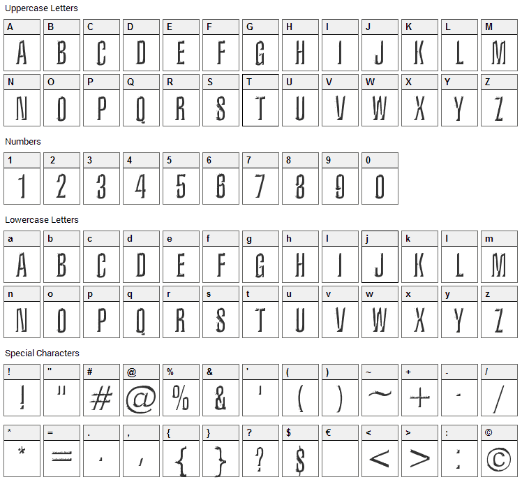 Iron Lung Font Character Map