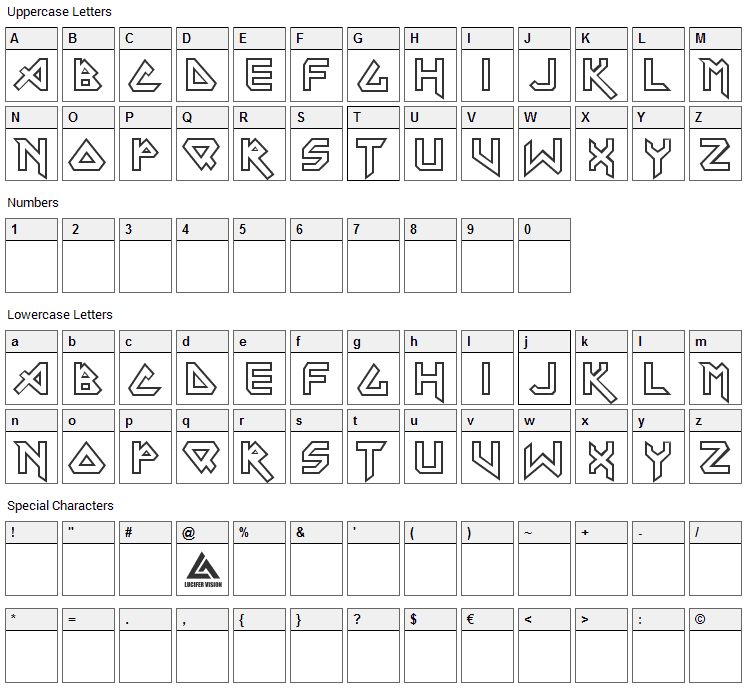 Iron Maiden Font Character Map