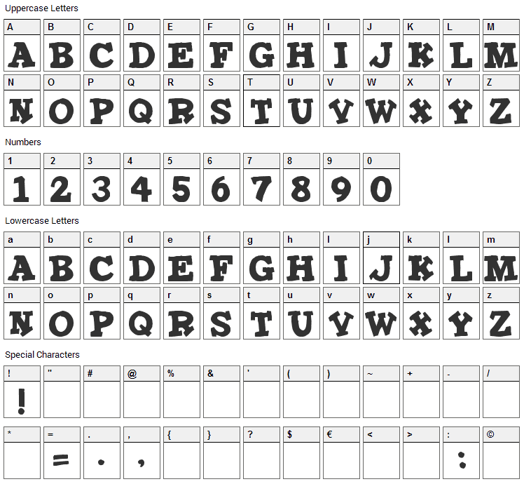 Iron Man Font Character Map