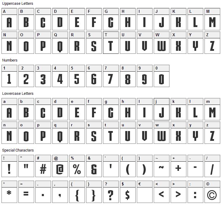 Iron Man Of War 002 NCV Font Character Map