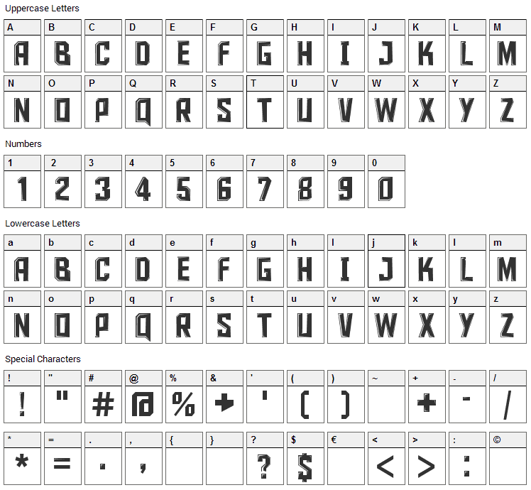 Iron Sans Font Character Map