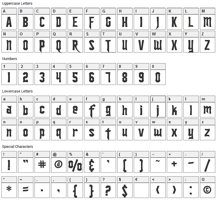 Ironsides Font Character Map
