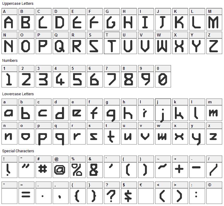 Ishi Font Character Map