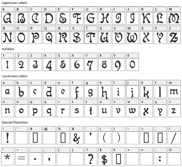 Isla Bella Font Character Map