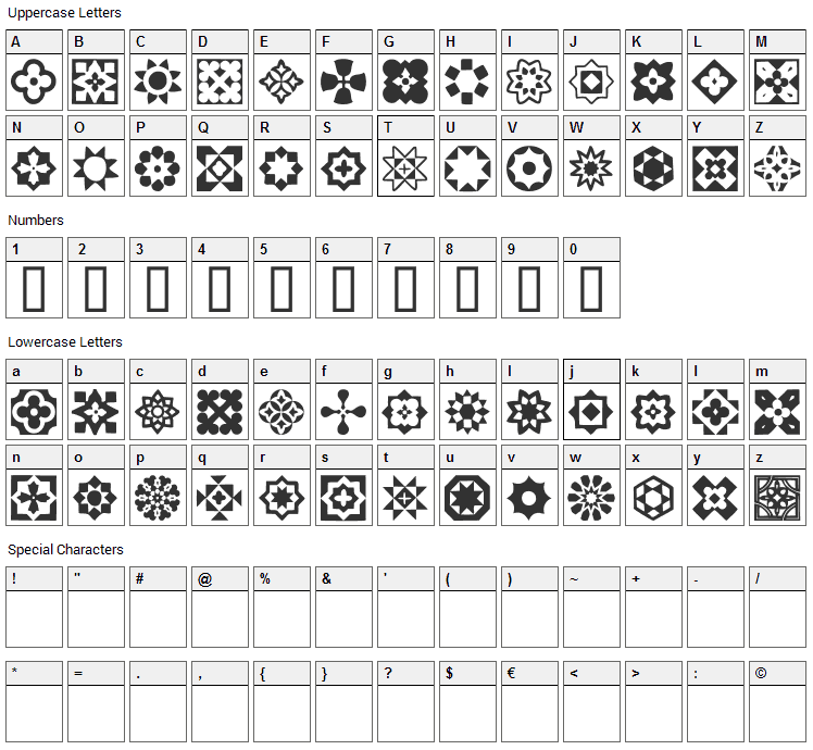 Italian Mosaic Ornaments Font Character Map