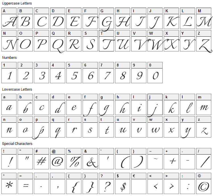 Italianno Font Character Map