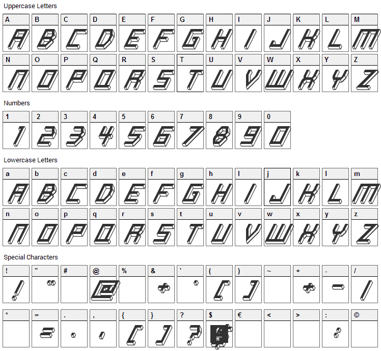 Italic Bricks Font Character Map