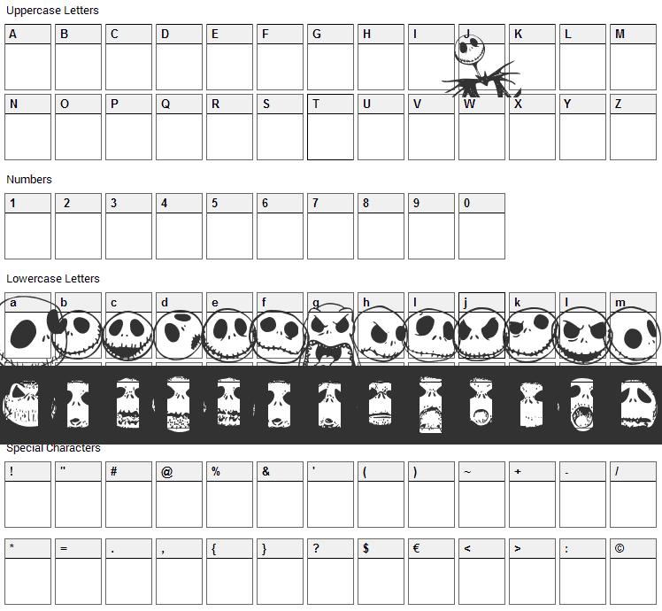 Jack Skellingtonbats Font Character Map