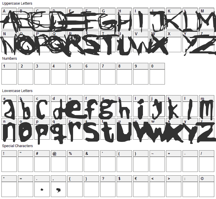 Jack the Ripper Font Character Map