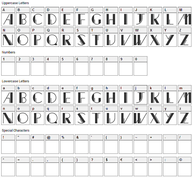 Jacked Font Character Map