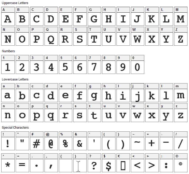 JackInput Font Character Map
