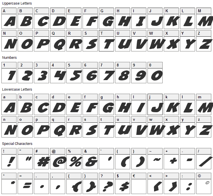 Jacks Candlestick Font Character Map