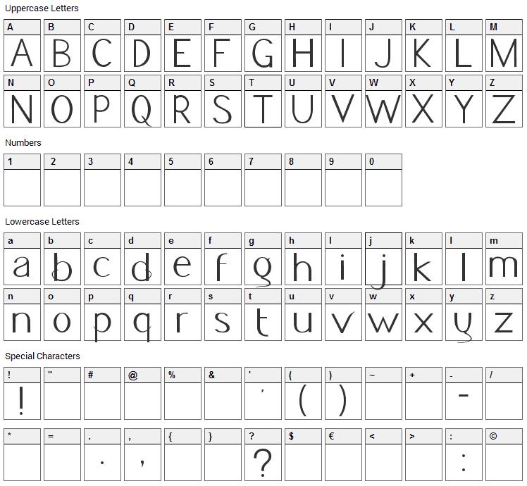 Jacks Font Character Map