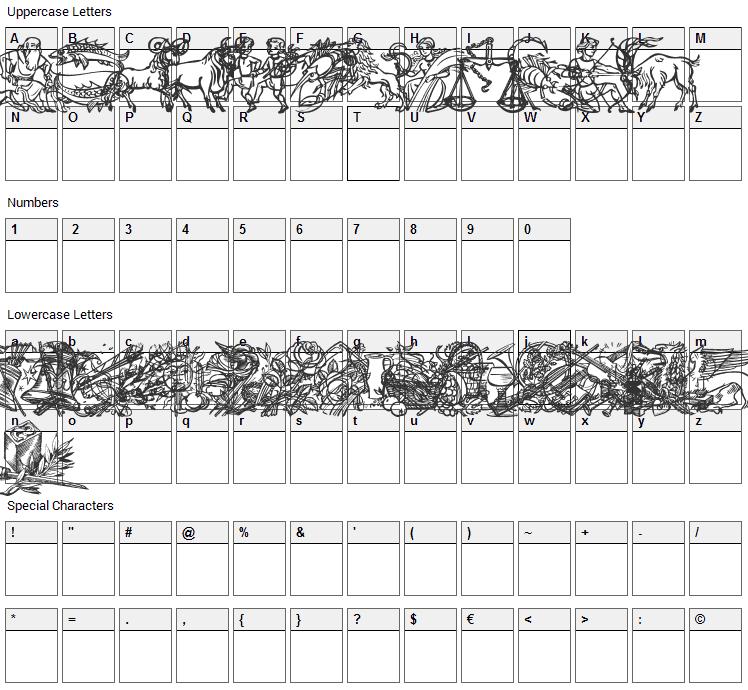 Jahreskreis Font Character Map