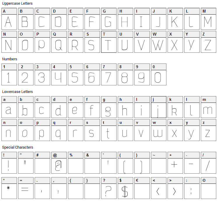 Jalane Light Font Character Map