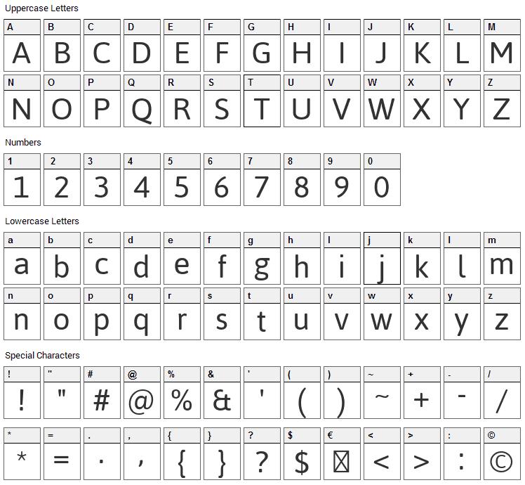 Jaldi Font Character Map