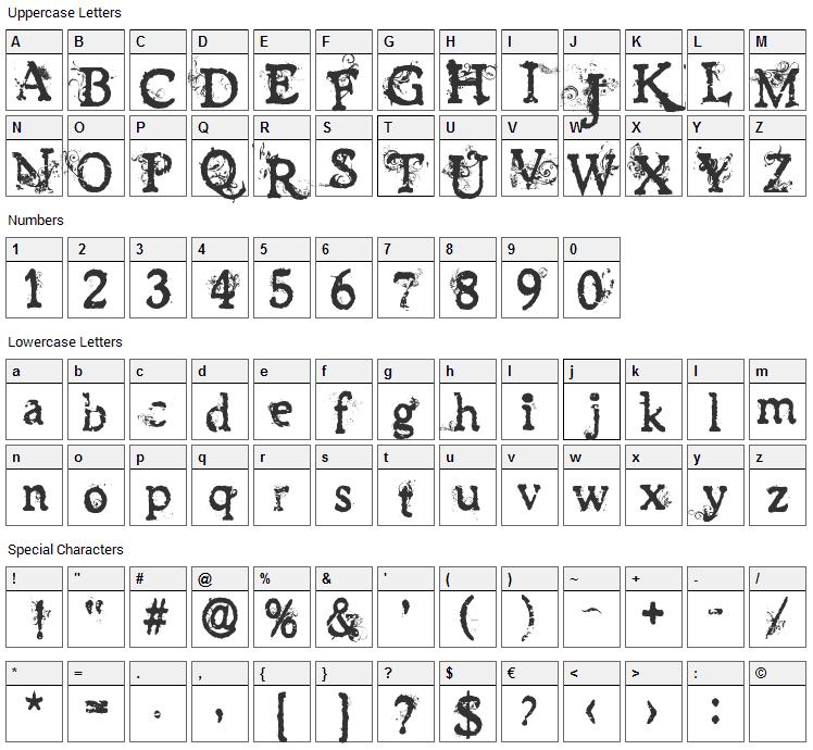 James Han Font Character Map