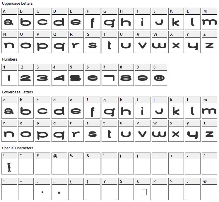 Jamiroquai Font Character Map