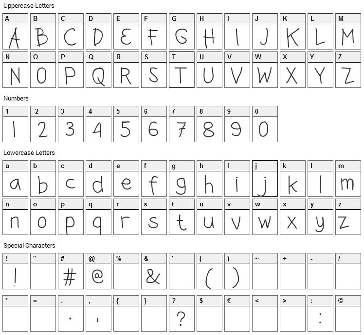 Jangan Bersedih Font Character Map