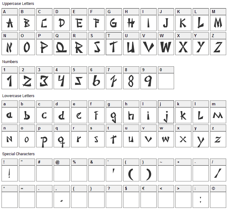 Japonesa Font Character Map